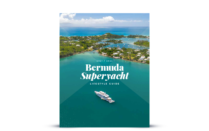 guide cover with superyacht in bermuda water