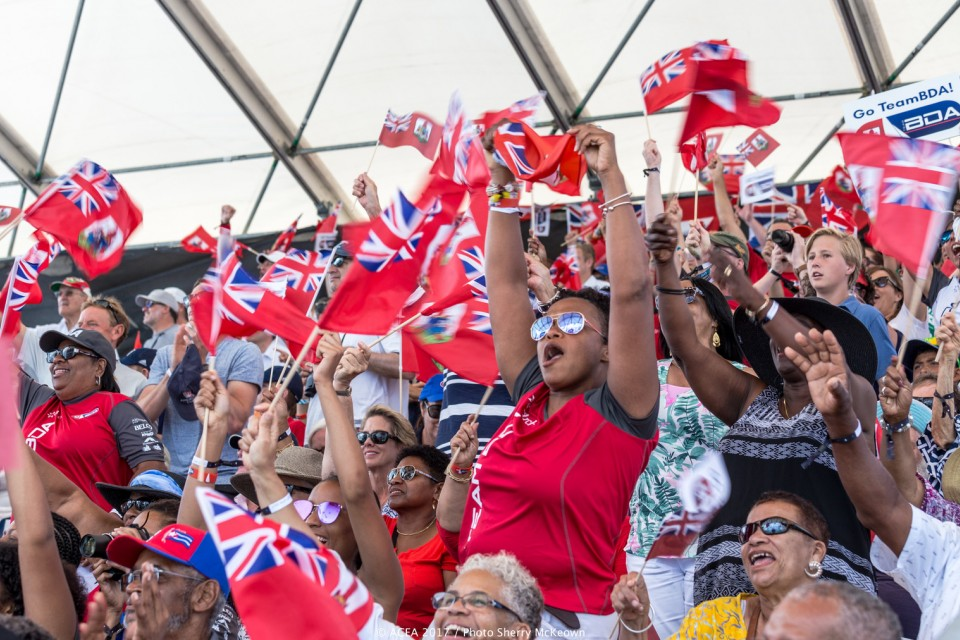 Fans support Team BDA, Bermuda's Red Bull Youth America's Cup team, from land.