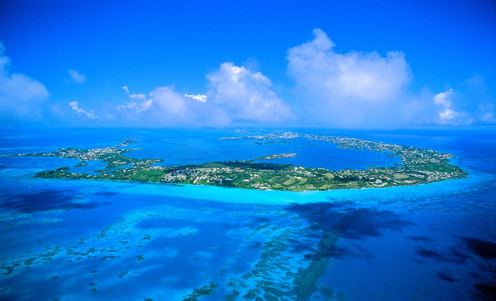 An aerial view of the Island of Bermuda