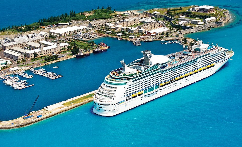 Cruise line anchored at the Royal Naval Dockyard in Bermuda