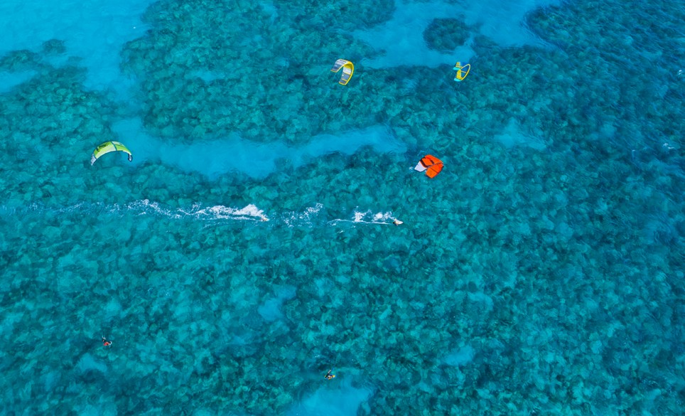 Elbow Beach Kiteboarding Blue Water Aerial