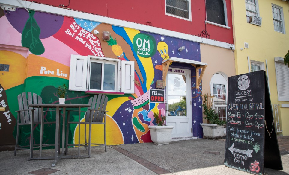 The mural outside OM Juicery
