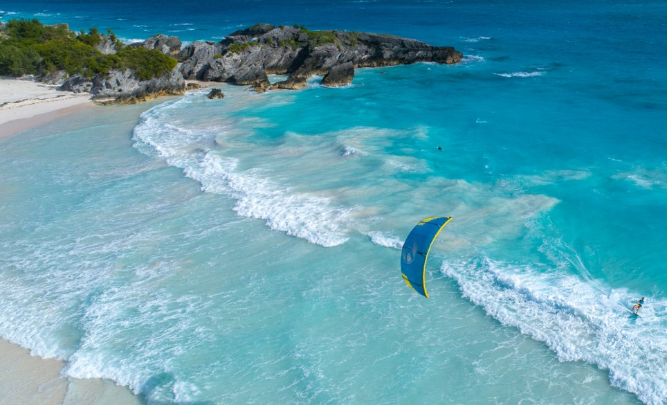 Horseshoe Bay Beach Kiteboarding Aerial