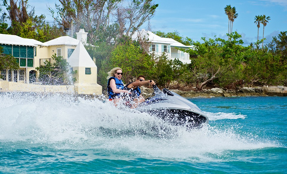 Jet skiing in the waters around Bermuda