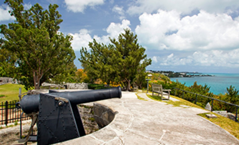A rampart at Fort Scaur overlooks the Atlantic