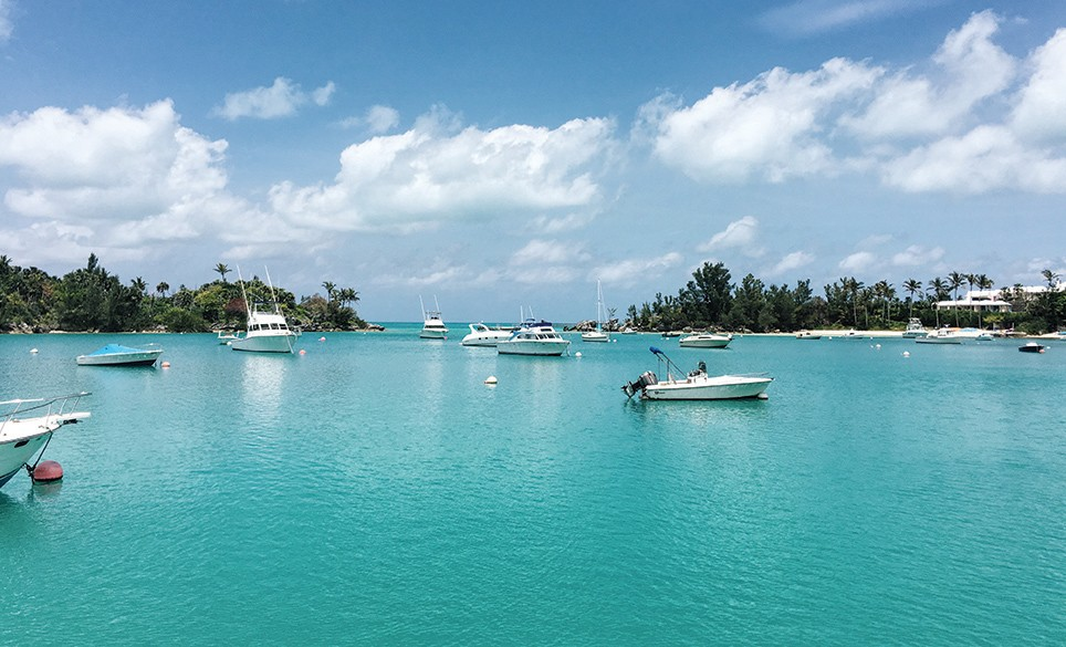Boats on the harbor in Bermuda