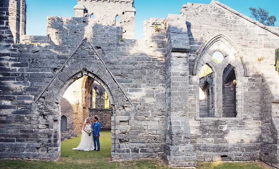 A wedding ceremony at Bermuda's Unfinished Church