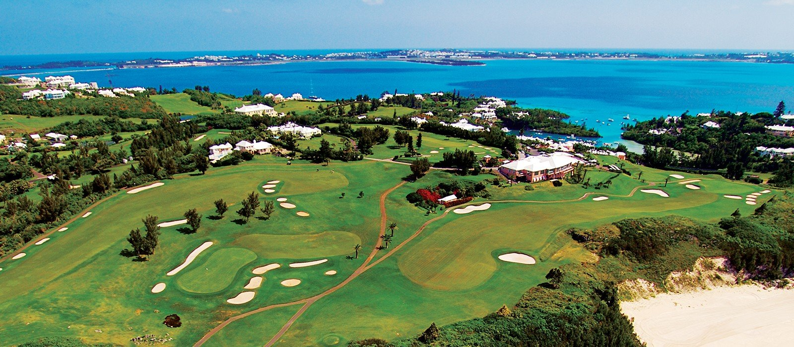 Aerial veiw of Mid Ocean Golf Course in Bermuda