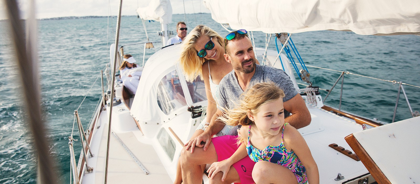 family on the water in bermuda