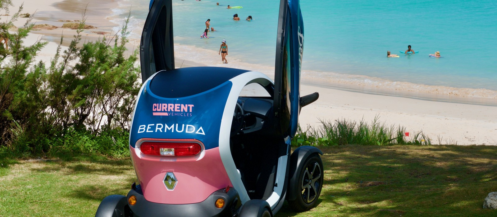 Twizy at John Smith's Bay Bermuda beach