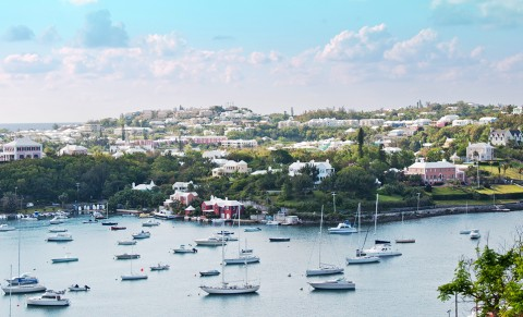A view of Hamilton, Bermuda from above