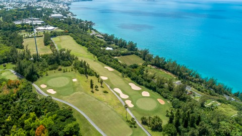 Aerial photo of Port Royal Golf Course, along the coast with ocean views