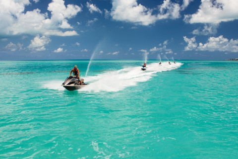 Jet skiing on Bermuda's turquoise waters