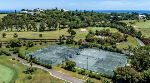 An aerial view of the tennis courts at Rosewood Bermuda