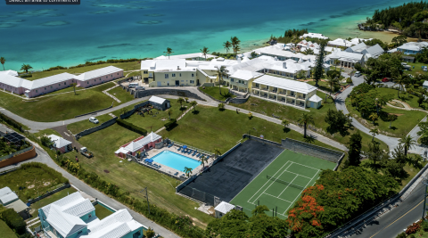 An aerial view of the tennis court, pool and beach at Willowbank Resort