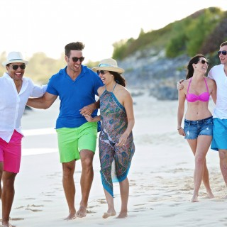 Tourists Walking on a Bermuda Beach