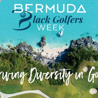 An aerial image of the waterfront 16th hole at Port Royal Golf Course. Text overlay reads: Bermuda Black Golfers Week – Driving Diversity in Golf