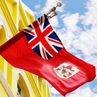 British flag flying over Hamilton Bermuda