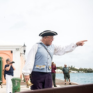 Dunking reenactment in St. George's King's Square In Bermuda