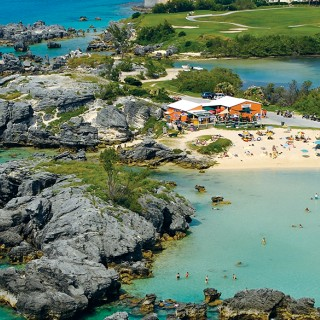 Arial view of Tobacco Bay Beach, Bermuda