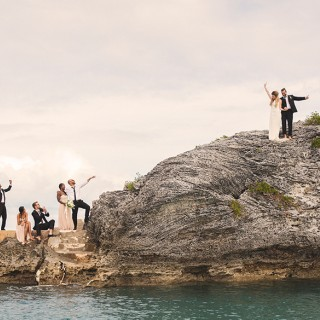 Cliff jumping at a Bermuda wedding