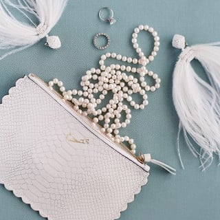 topdown photograph of wedding related items