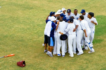 Team Huddle during a Cricket match in Bermuda