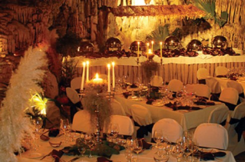 Wedding reception setting in the caves at Grotto Bay