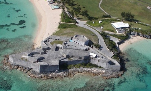 Ariel of Blackbeard's Hideout - with Fort St. Catherine