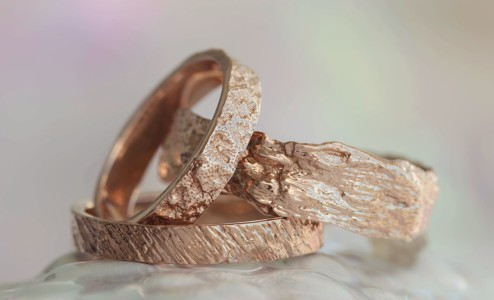 Bermuda Textured Wedding Bands - For the Gents Alexandra has designed wedding bands with Bermuda textures including Southampton Sea Urchin, The Unfinished Church, Flatt's Dock, Longtail Feather, and Old Boat Rope.  Her secret technique uses the...