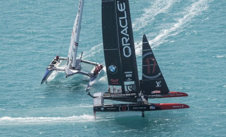 A close call during the America's Cup Qualifiers in Bermuda