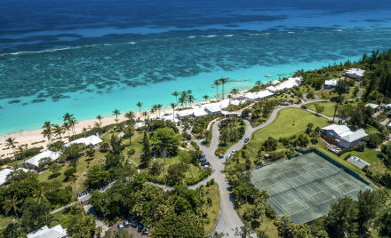 An aerial view of Coral Beach Resort