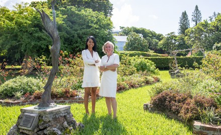 Isabelle Ramsay-Brackstone and Lizzy Blankendal at the Waterville Rose Garden