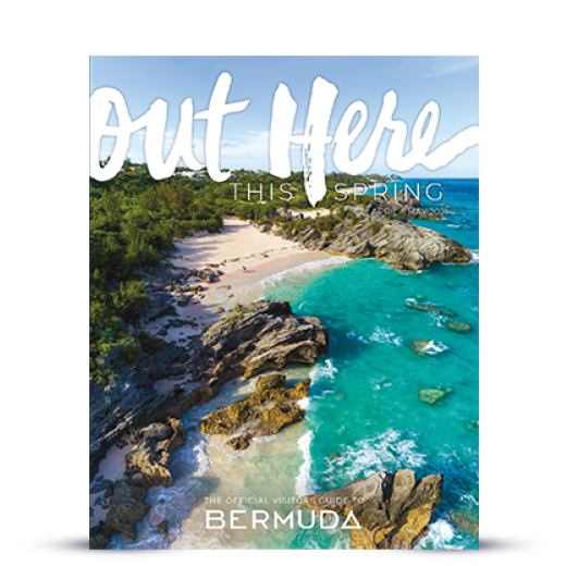 The cover of Bermuda's 2021 Spring guide, featuring an aerial photo of the coastline, turquoise waters and natural scenery